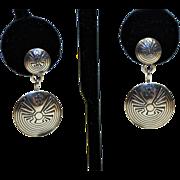 Native American Pierced Earrings-Man in Maze Design-Sterling-Dancing Dangles