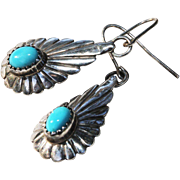 Native American Pierced Earrings-Silver & Turquoise-Artistic Dangles