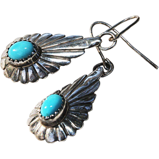 Native American Pierced Earrings-Silver & Turquoise-Artistic Dangles