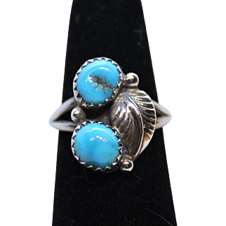 Native American Ring-Silver & Turquoise-Leaf Motif-Size 6