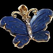 Butterfly Pendant-14K 585 Gold-Lapis & Diamond Body-Delightful!