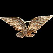 Trifari Eagle Pin-Vintage 1996-Aurora Borealis & Clear Crystals-Beautiful & Fierce!