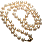 Marvella Faux Pearl Necklace-Vintage 1970's-Box Clasp-Princess Length