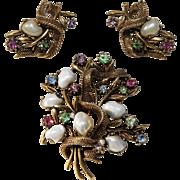 Coro Set-Mid-Century Vintage-Faux Baroque Pearls & Rhinestone Flower Bouquet