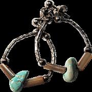 Western Hoop Pierced Earrings-Turquoise Nuggets-Rustic & Playful