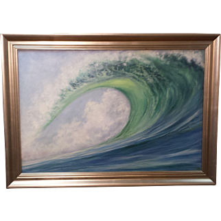 In the Zone-30 X 40 Framed Oil Painting by L. Warner-Dramatic Wave Breaking