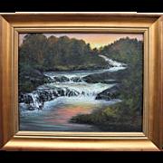 Evensong-Framed 16 X 20 Landscape Oil Painting-Artist L. Warner-Woods & River at Sunset