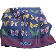Gucci Scarf-Silk-Made in Italy-Butterfly Motif-Navy & Burgundy & Golds