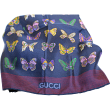 Gucci Scarf-Silk-Made in Italy-Butterfly Motif-Mint Condition!