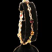 Gemstone Link Bracelet-925 Vermeil-Ten Oval Semi-Precious Gems-Sweet!