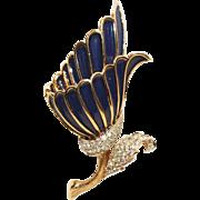 Panetta Pin-Navy Enamel-Paves Crystals-Regal Floral Motif-Stunning!