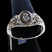 Whiting & Davis Bracelet-New Old Stock-Floral Motif-Fancy Hinged Bangle