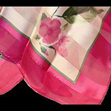 "Silk Scarf-Adrienne Vittadini-Pink Flowers-34"" Square"