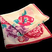 "Oscar de la Renta-Vintage Silk Scarf-Purple Flowers-31"" Square"