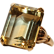 Citrine Ring-14KT Yellow Gold-Retro Design-Size 6-A Real Beauty!