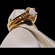Flip Ring-LIND 14K H.G.Electroplate-Size 6.5/7-Opal & CZ-Vintage Fun!
