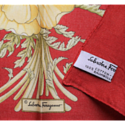 Ferragamo Scarf-17 Inch Square-Red & Gold Cotton Floral-Envelope Box Included