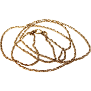 """Chain Necklace-14Kt. G.F. Delicate Rope Design-20"""" Total Length"""