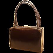 Adrienne Small Vintage Handbag-Rich Brown Leather-Mirror & Change Purse Too!