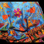 Jacqueline Ferrar Silk Scarf-Vintage 30 Inch Square-Brilliant Tassels & Bows