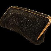 Michel Swiss Handbag-Vintage Black Beaded Clutch-Very Chic