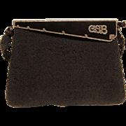 G. Baring Vintage Handbag-Micro Black Beads-Ornate Enamel Flip Top-C.S.B. Initials