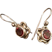 Sterling Silver Garnet Flower Drop Earrings.