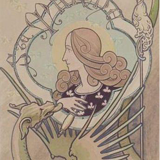 SALE: French Signed Maiden and Dragon Post Card Le Marche. Art Nouveau