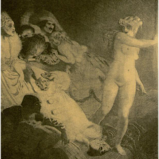 Vintage Book Plate 'The Curtain' by Norman Lindsay.