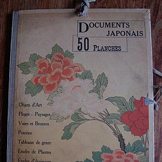 Rare Unique Antique Compendium of 50 Japanese Color Engravings 'Documents Japonaise'  c1900.