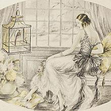 Hand Colored Art Deco Boudoir Lithograph 'Elegants a L'Oiseau' c1920
