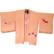 Antique Peach Silk Painted Haori Kimono Japanese Meiji era c1905