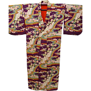 Antique Burgundy Silk Crepe Kimono with all-over Multi Color Landscape Design. c1900 Japanese Meiji era.