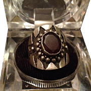 Sterling Silver and Garnet Shield Ring. c1970