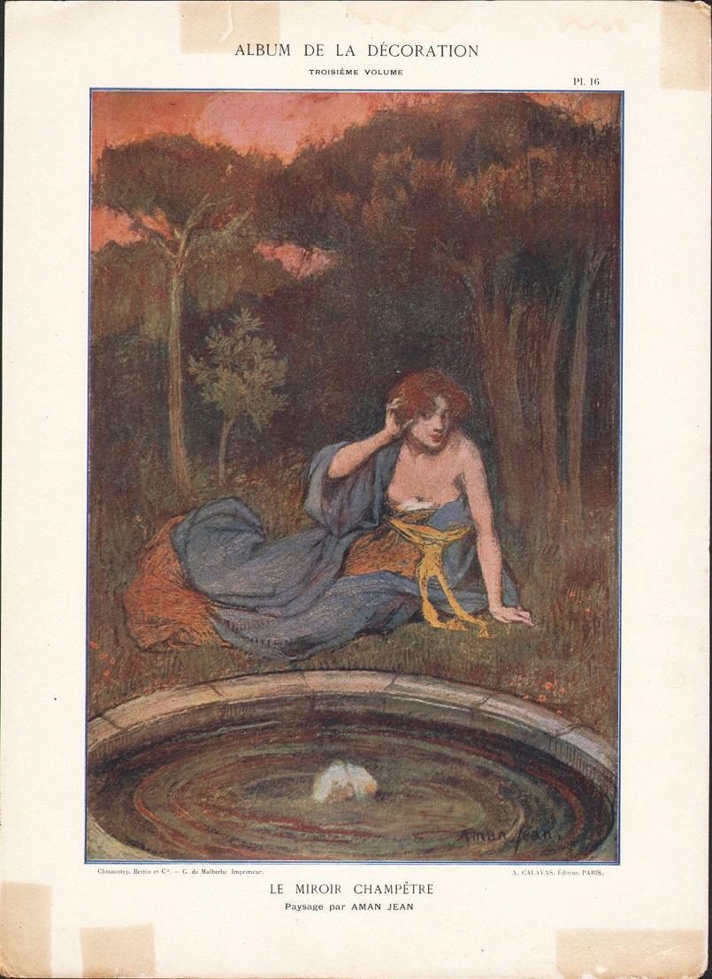 Art nouveau french chromo lithograph 39 le miroir champetre for Miroir art nouveau