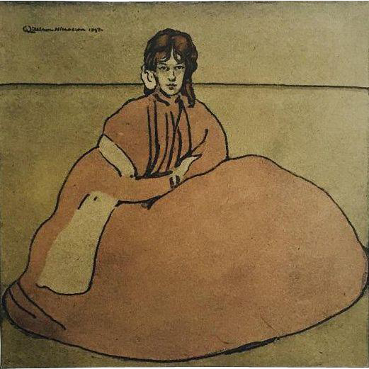 Antique Original Rare Stone Lithograph 'Jeune Fille Assises' from L'Estampe Moderne series 1899.