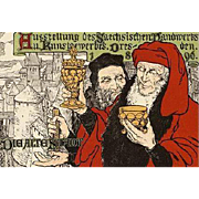 Original German Art Nouveau Stone Lithograph 'Die Alte Stadt' from Das Moderne Plakat 1897