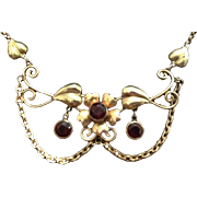 12K Gold Filled and Garnet Lavalier Necklace..Hallmarked.