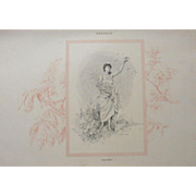 Mid Victorian Four Seasons Signed French Springtime Engraving 'Printemps'  c1860.