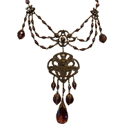Amazing Vintage Czech style Brass, Art Glass and Amethyst Lavalier Bib Statement Necklace