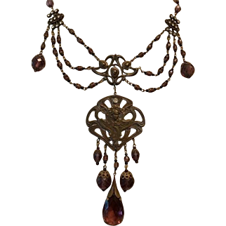 Amazing Vintage Czech style Brass, Art Glass and Amethyst Lavalier Bib Statement Necklace