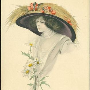 Signed Early English Tuck's Photogravure Colored 'Beautiful Lady' Postcard