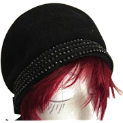 Superb Italian Designer Black French Velour and Jet Bead Cloche Hat