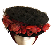 Amazing Victorian Black Felt and Velvet Flower Hat..very Downton Abbey