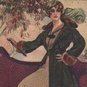Signed Corbella Art Deco Lady with Automobile Italian Postcard