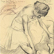 SIgned French Vintage Degas Melina Darde Ballet Small Lithograph