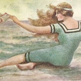 Art Nouveau Signed 'Swimsuit' Postcard  c1910