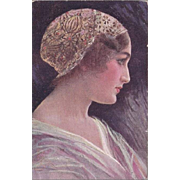 SALE: Art Deco Bohemian Artist Girl in Lace Cap Postcard 1917