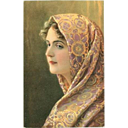 SALE: German Artist Woman in a Brocade Shawl Postcard.
