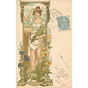 Rare Original French Signed Elizabeth Sonrel Lithographic Postcard 1904